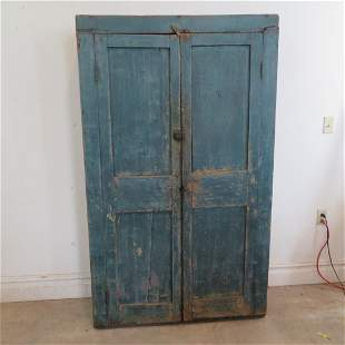 Pine flat wall cupboard in old blue paint