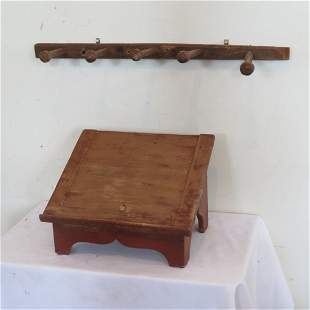 Table top Bible or book holder and wood peg rack