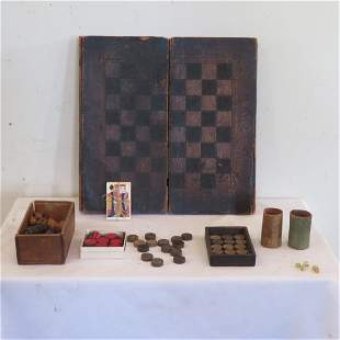 Folding game board, checkers & backgammon with game pcs