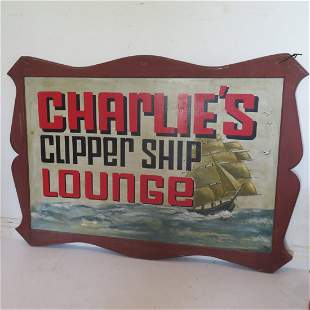 Double sided large sign Charlies Clipper Ship Lounge
