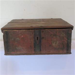 Early dovetailed Bible box in old worn red paint