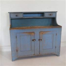 Early high back poplar dry sink in old blue paint