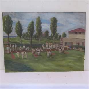 Oil painting on masonite of tournament