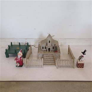 Christmas church, wood feather tree stand etc.
