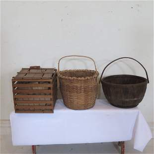 Wood apple basket, large splint basket, egg crate