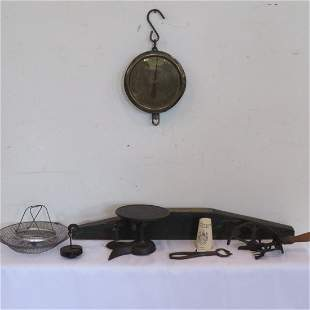 Group of 7 tools, utensils, and scales