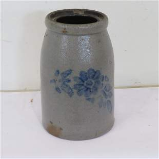 Early stoneware wax sealer with stencil flowers