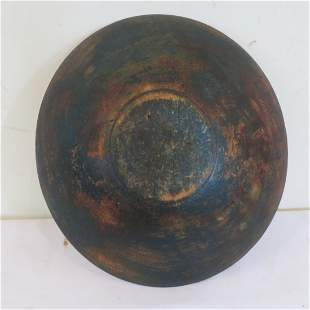 Out of round wood bowl in old blue/green paint