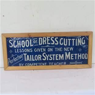 "Tin sign ""School of Dress Cutting"""