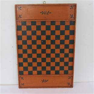 Paint decorated game board in orange and black