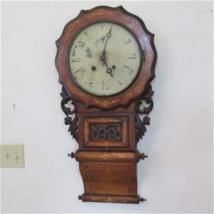 English walnut wall clock with marquetry inlay