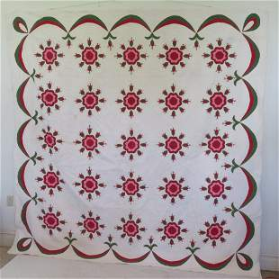 Early applique rose pattern quilt with swag border