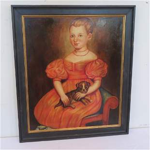 O/C reproduction portrait of little girl with small dog
