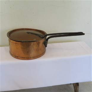 """12"""" Dia, tin lined copper pot with cast iron handles"""