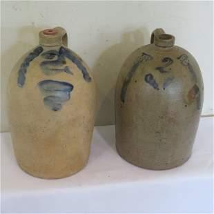 2 - 2 gal blue decorated stoneware jugs