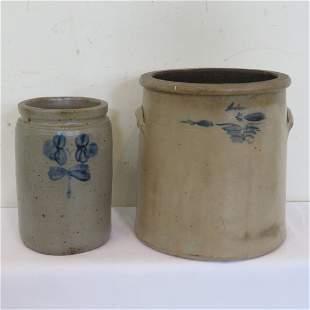 2 stoneware jars, 4 gal & 1.5 gal with blue decoration