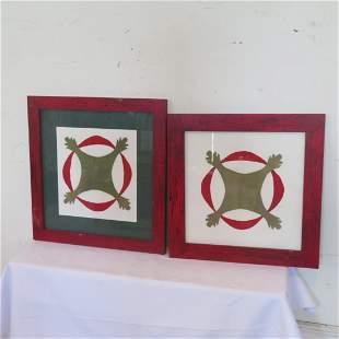 2 framed quilt blocks