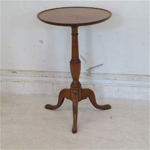 Reproduction tiger maple dish top candlestand