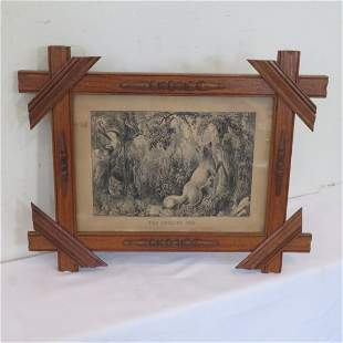 Small framed folio of The Puzzled Fox by Currier & Ives