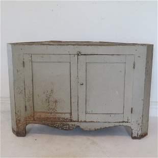 Base to early walnut corner cupboard