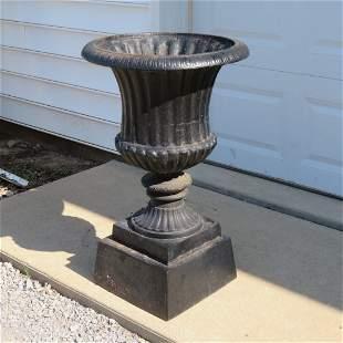 Victorian 2 pc. cast iron garden urn