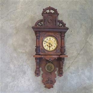 German walnut Gustave Becker style wall clock