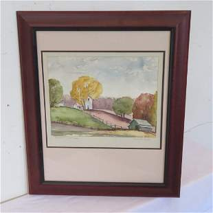 Watercolor painting of farm house