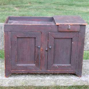Pine miniature dry sink in old natural dark finish