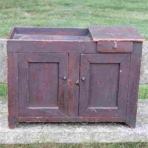 Pine miniature dry sink in old natural dark patina
