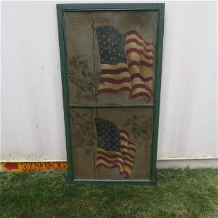 Late 19th century wood window screen with flags