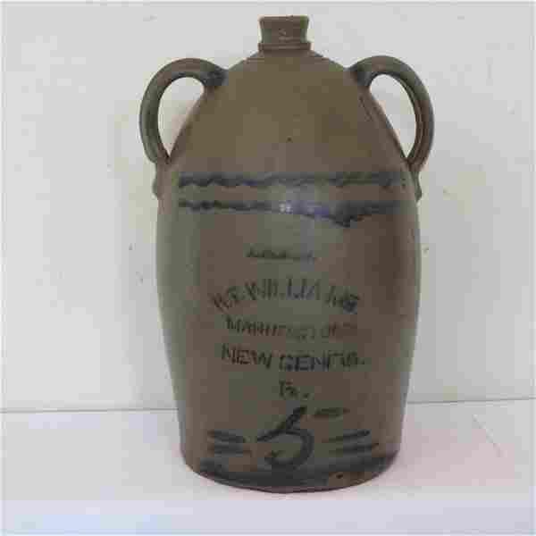 R.T. Williams, New Geneva, PA 5 gal stoneware jug