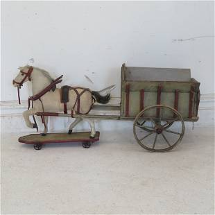 Late 19th early 20th century child's horse and cart