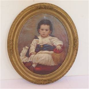 Circa 1850 O/C portrait of a child in gilded frame