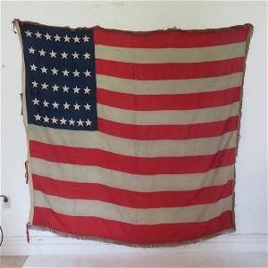Circa 1877 38 star American flag with fringe on 3 sides