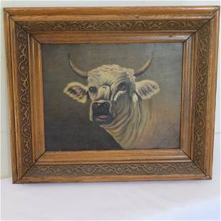 O/C portrait of steer or cow, signed