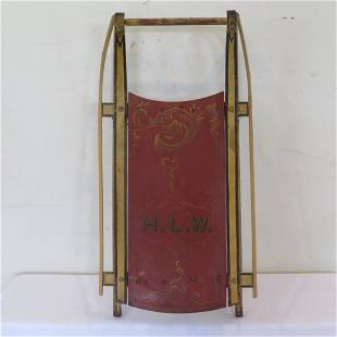 Early original paint decorated wood sled