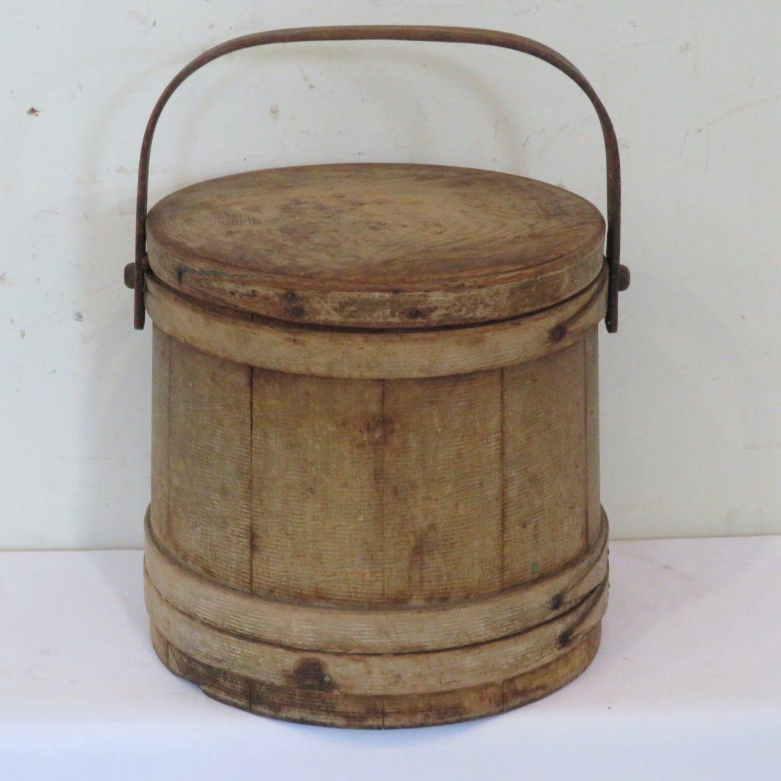 Wood firkin in old mustard grain paint with lid