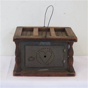 Punched tin and wood foot warmer w/tin cup for coals