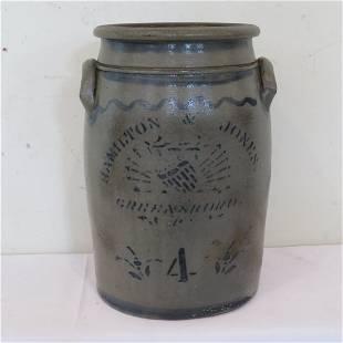 Hamilton & Jones, Greensboro, PA , 4 gal stoneware jar