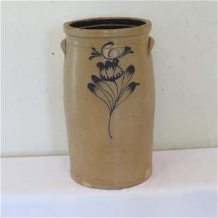Unmarked 6 gal churn with stylized tulip decoration