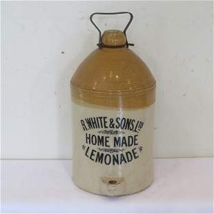 4 gal stoneware lemonade jug with metal handle