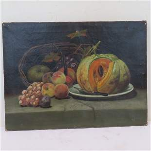 Circa 1900 O/C still life painting with basket of fruit