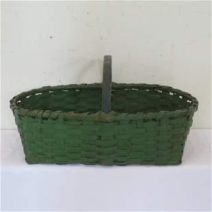 Splint gathering basket in old green paint
