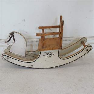 Child's wooden painted rocking horse