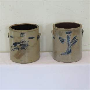 2 - 3 gal stoneware crocks with blue decoration