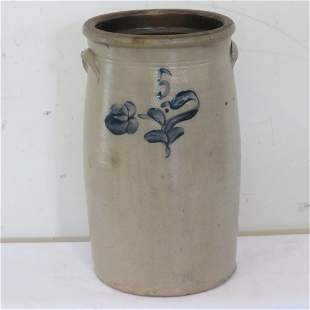 Unsigned blue decorated 6 gal stoneware churn