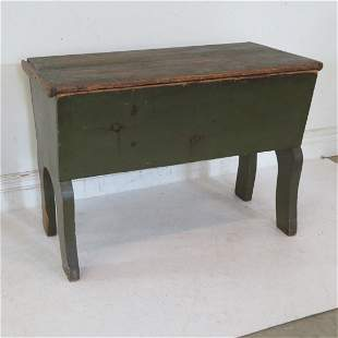 Pine country dough box in old green paint
