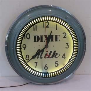"American neon ""Dixie Milk"" wall clock"