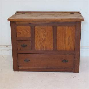 Ash, poplar, and maple baker's cabinet