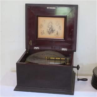 Ca. 1890 Regina music box with tin disk records